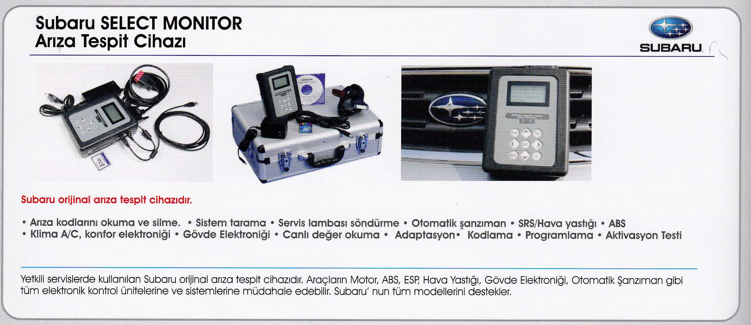 SUBARU SELECT MONITOR 3 ARIZA TESPİT CİHAZI | Ağır Vasıta